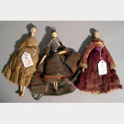 Three Wooden Grodnertal Dolls