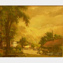 Framed Oil on Canvas of the Corners of Elm and Park Street in New Canaan