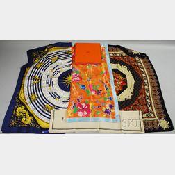 Four Designer Silk Scarves