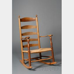 Country Ash and Elmwood Ladder-back Rocking Chair