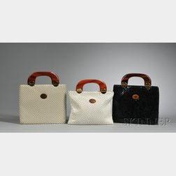 Three Vintage Whiting & Davis Metal Mesh Handbags with Lucite Handles