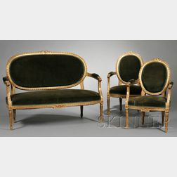 Five Piece Suite of Louis XVI-style Giltwood Seating Furniture