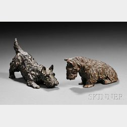 Marguerite Kirmse (American, 1885-1954)       Two Bronze Scottish Terriers