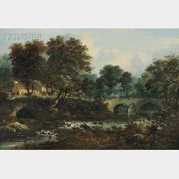 British School, 19th Century      The Old Cramond Bridge on the Almond Near Barnton, Edinburgshire...