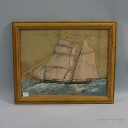 American School, 19th Century      Brigantine Morning Star   Off New London with Distant Lighthouse