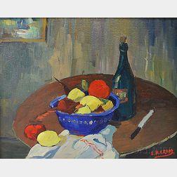 Leighton R. Cram (American, 1895-1981)      Still Life with Fruit