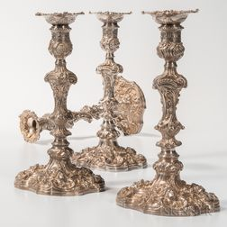 Four Assembled English Sterling Silver Candlesticks