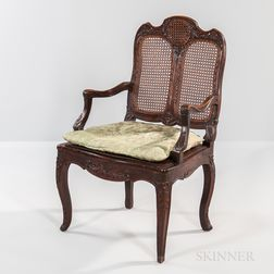 Louis XV Caned Walnut Armchair