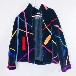 Zuki Abstract Striped Fur Jacket