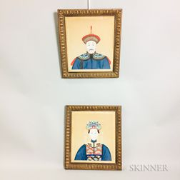 Pair of Ancestral Bust Portraits and a Mirror