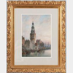Cornelis Christiaan Dommelshuizen (1842-1928)      View of the Montelbaanstoren, Amsterdam