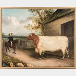 Anglo/American School, 19th Century      Portrait of a Cow and Horse and Rider