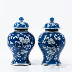 Pair of Blue and White Hawthorn Jars and Covers