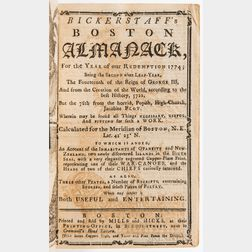 Bickerstaff's Boston Almanack for the Year of our Redemption 1774.