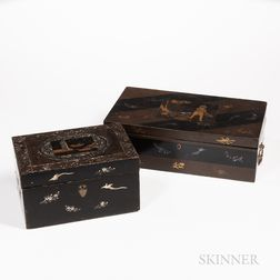 Two Portable Export Gilt and Mother-of-pearl-inlaid Lacquer Boxes