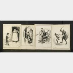 Peter Newell (American, 1862-1924)  Lot of Four Illustrations for The Parson's Devil