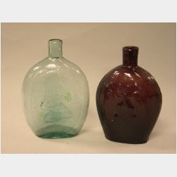 Amethyst Blown Molded Grape and Eagle Flask and an Aqua Blown Molded Washington-Taylor Flask.