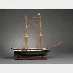 Painted Wooden Two-Masted Sailing Ship Model Truxton