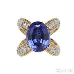 "Tanzanite and Diamond ""Crisscross"" Ring, Attributed to Donald Claflin, Tiffany & Co."