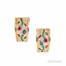18kt Gold Gem-set Flower Earrings