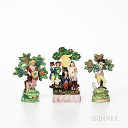 Three Staffordshire Bocage Figures