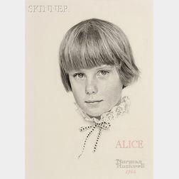 Norman Rockwell  (American, 1894-1978)      Portrait of Alice