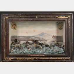 Extensive Carved and Painted Shadow Box Diorama of the Battle of Santiago