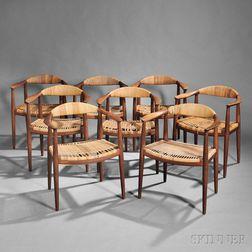 Eight Hans Wegner (1914-2007) Round Armchairs