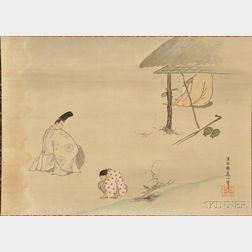 Hanging Scroll Depicting a Tale of Genji   Scene