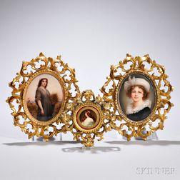 Three German Porcelain Portrait Plaques of Women