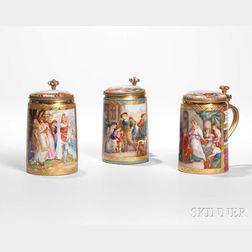 Three Royal Vienna Porcelain Steins
