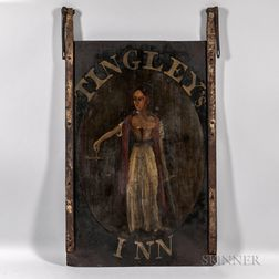 """Painted Tin and Wrought Iron Tavern Sign """"TINGLEY'S INN,"""""""