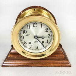 Chelsea Brass and Mahogany Ship's Bell Clock