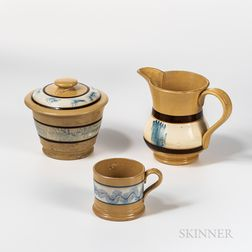 "Three Mocha ""Seaweed"" Decorated Yellowware Items"