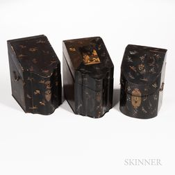 Three Export Gilt/Mother-of-pearl-inlaid Lacquer Knife Boxes