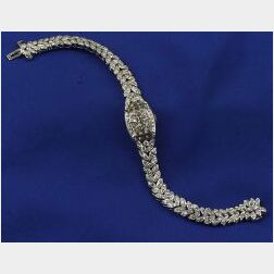 Lady's Platinum and Diamond Covered Wristwatch