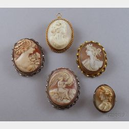 Five Assorted Shell-carved Cameos