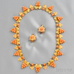 18kt Bicolor Gold and Coral Necklace, Mario Buccellati