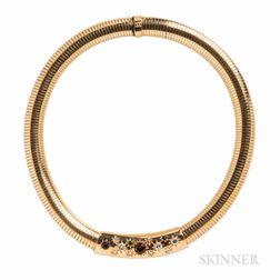 14kt Gold, Gem-set, and Diamond Necklace