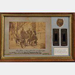 Civil War, Eben Jackson, Framed Photograph and Epaulettes.