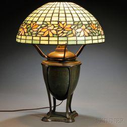 "Tiffany Studios ""Greek Vase"" Lamp Base with a Mosaic Glass Shade"