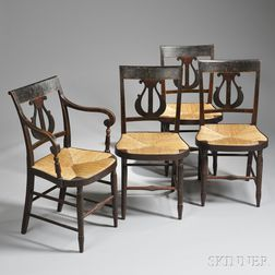 Set of Four Classical Paint-decorated Lyre-back Chairs