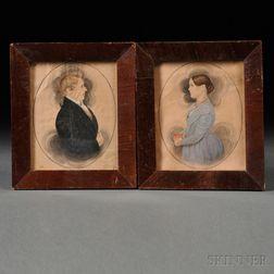 James Sanford Ellsworth (American, 1802/03-1874)      Pair of Portrait Miniatures of Simon and Margaret Douglas Bottum.