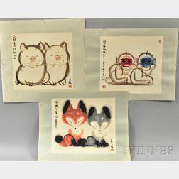 Three Prints Depicting Pairs of Animals