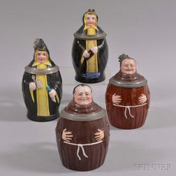 Four German Figural Ceramic Steins
