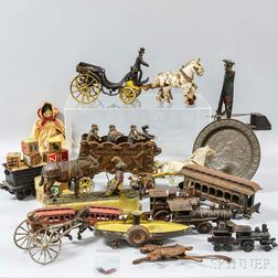 Group of Iron, Tin, and Wood Toys