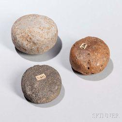 Three Hawaiian Discoidal Stones