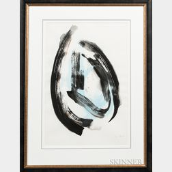 American School, 20th Century      Abstract in Black, Blue, and Bronze.