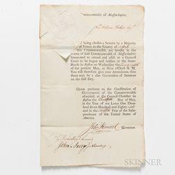 Hancock, John (1737-1793) Document Signed, 12 May, 1788.