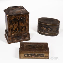 Three Export Gilt-decorated Lacquer Items